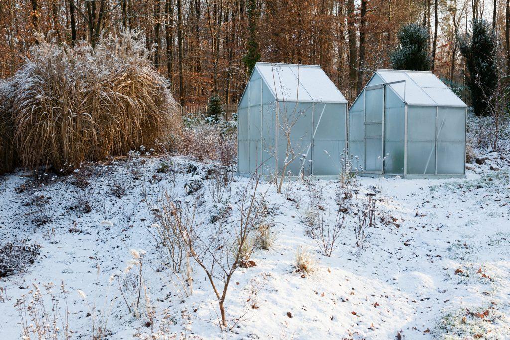 Der letztes Jahr neu angelegte Gartenabschnitt ist von Schnee bedeckt.